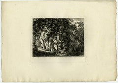 Landscape with bathing women by Salomon Gessner - Etching - 18th Century