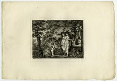 Landscape with a putto playing flute by Salomon Gessner - Etching - 18th Century