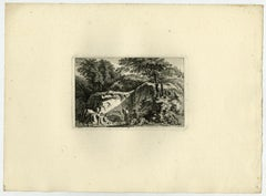 Arcadian landscape - People bathing by Salomon Gessner - Etching - 18th Century