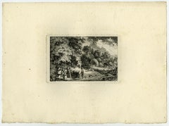 Landscape with woman washing clothes by Salomon Gessner - Etching - 18th Century