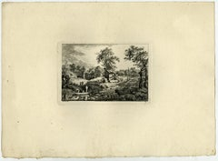 Landscape with a boat near a hamlet. by Salomon Gessner - Etching - 18th Century