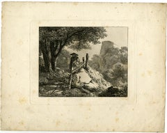 Landscape with a fenced path by Johann Christoph Erhard - Etching - 19th Century