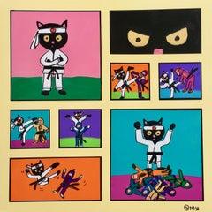 Skittles versus the Ninjas, Painting, Acrylic on Canvas