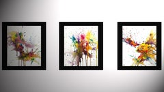 3 Expressive Chaotic Series Paintings 4168.4169.41, Painting, Watercolor