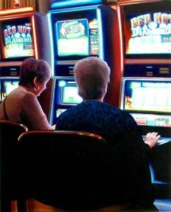 Gambling Ladies, Painting, Acrylic on MDF Panel