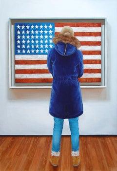American Flag, Painting, Acrylic on Wood Panel