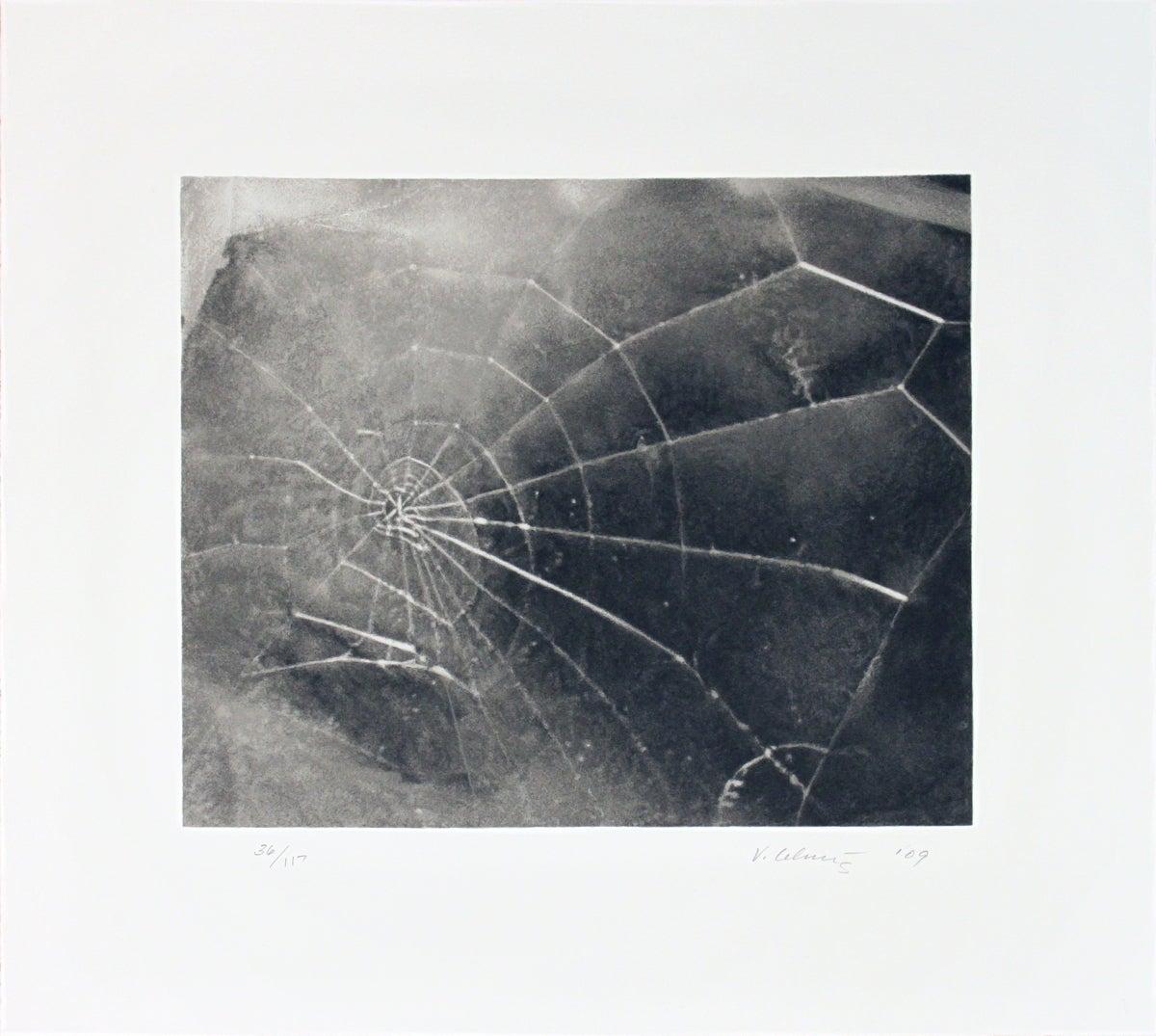 """Vija Celmins-Spider Web-17.5"""" x 19""""-Serigraph-2009-Contemporary-Black & White"""
