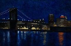 Brooklyn Bridge 2, dark colors, urban night view of New York