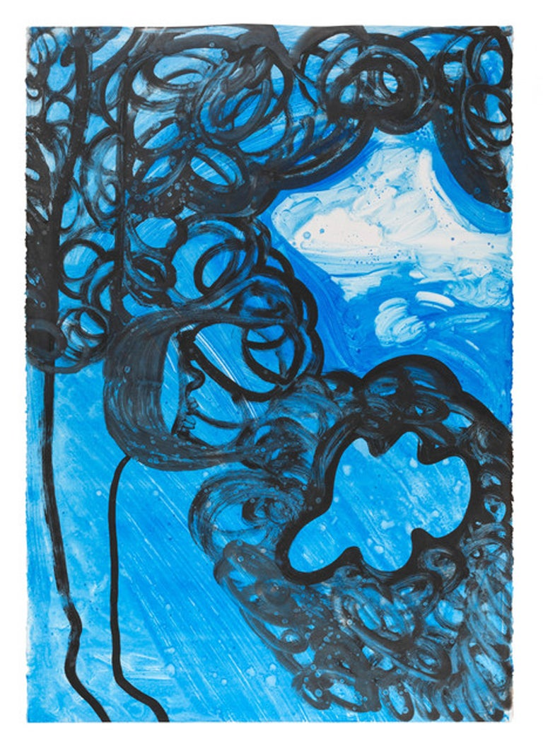 """SKY WOMAN"", Monotype on Stonehenge Paper, Blue, Black Line, White"