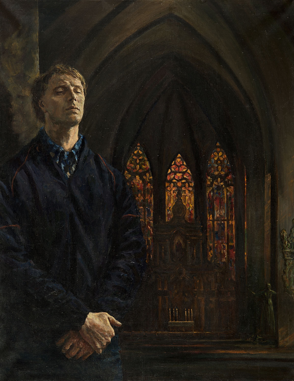 Organ music in Erfurt. Self-portrait, Painting, Oil on Canvas