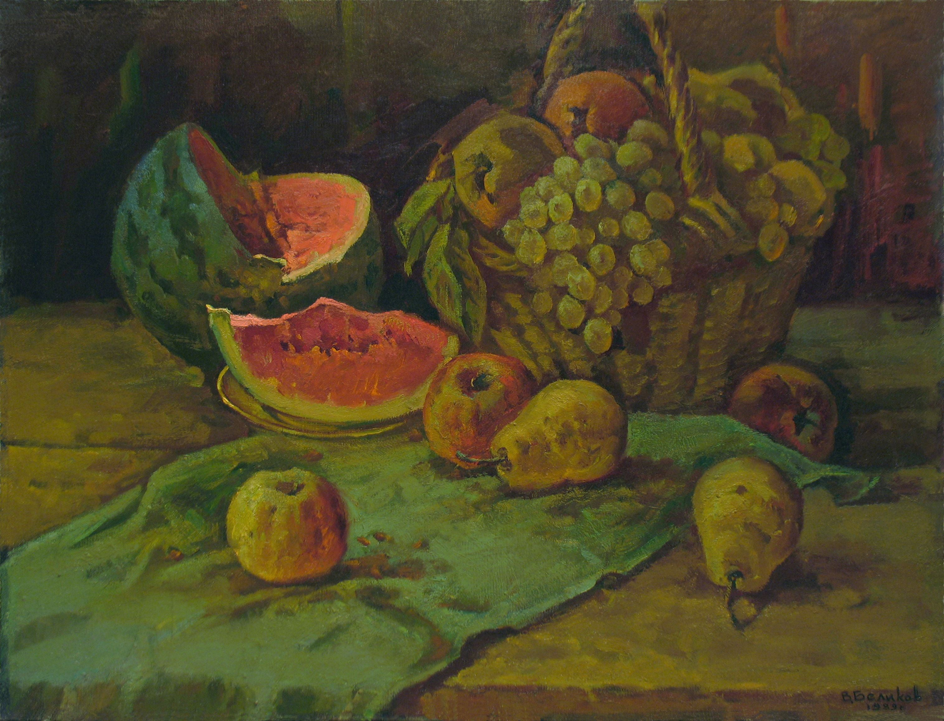 Still life with water melon, Painting, Oil on Canvas