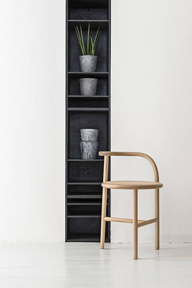 Modern Single Curve Stool with Woven Cane Seat by Nendo & GTV For Sale