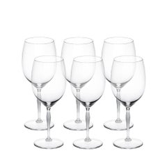 Lalique Set of Six 100 Points Bordeaux Glasses in Clear Crystal