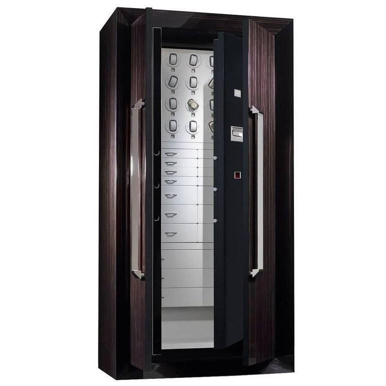 Armoire in Polished Ebony with Safe and Watch Winders Anchorable to the Wall