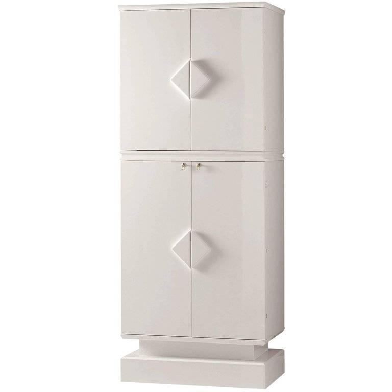 Armored Contemporary Jewelry Armoire Safe in White Polished Bird's-Eye Maple