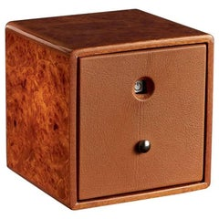 Brown Watch Winder in Polished Briar and Leather Lined by Agrest