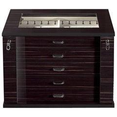 Black Polished Wood w/ Extendable Box for 54 Cufflinks by Agresti