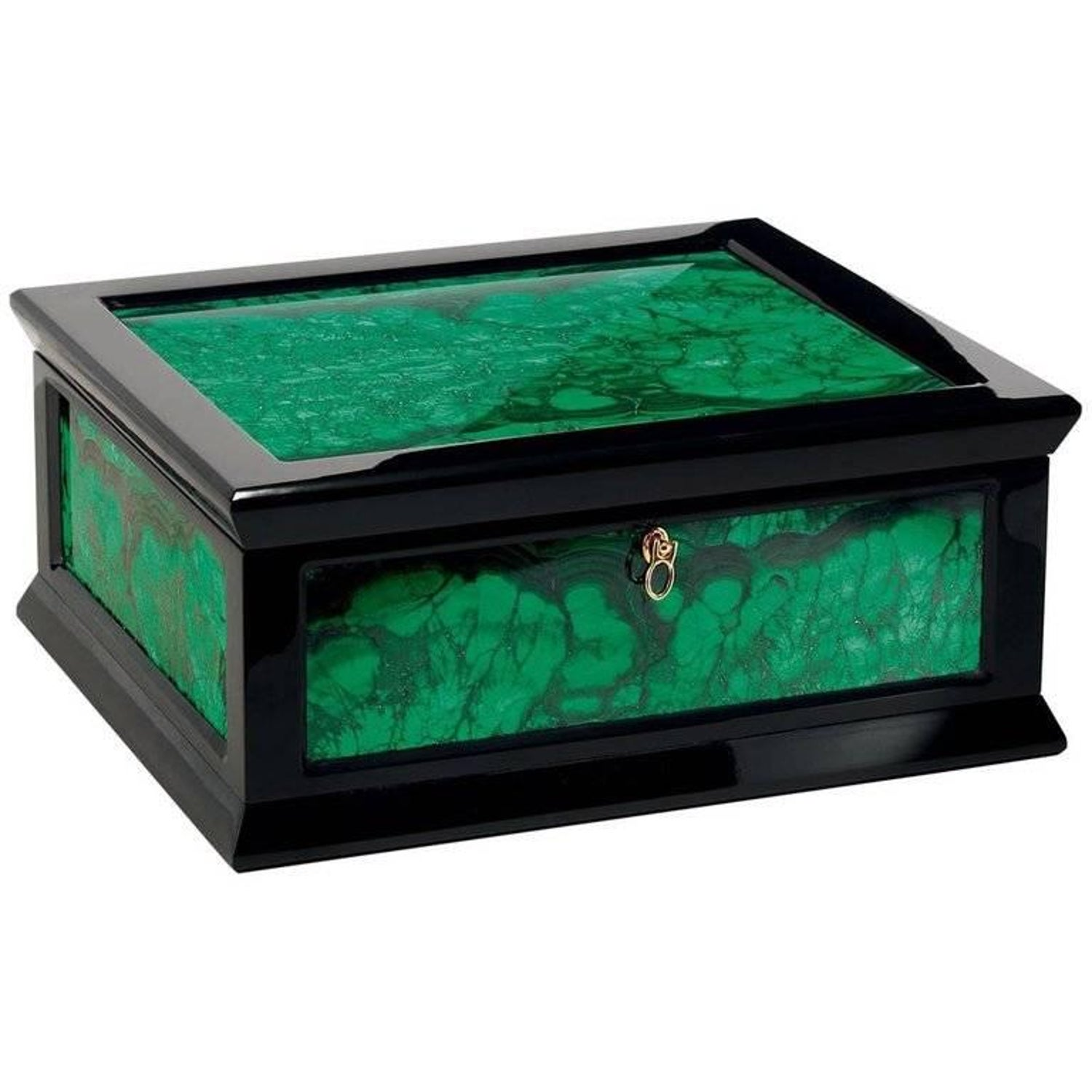 Jewelry Box in Glossy Black with Malachite Inserts by Agresti For Sale at 1stdibs