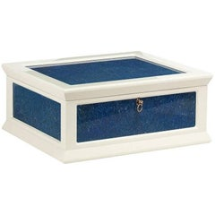 Jewelry Box in Glossy White with Lapislazuli Inserts by Agresti