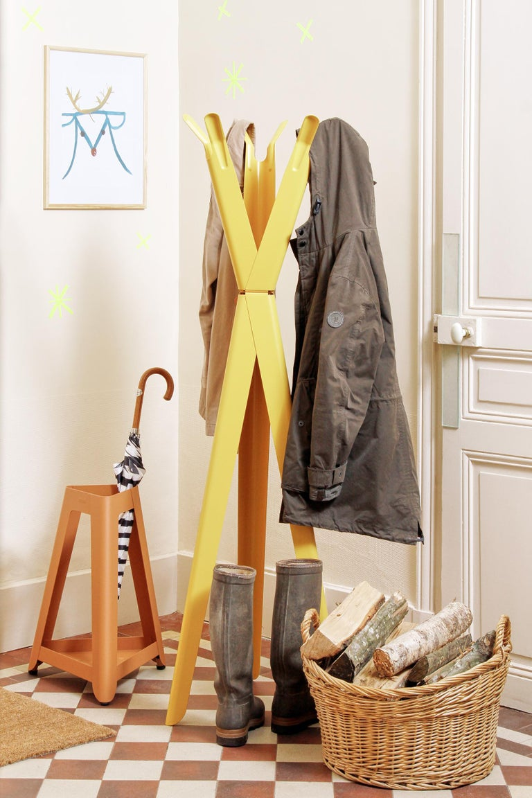 Steel Family Tree Coat Rack in Pastel Yellow by Sebastian Bergne & Tolix For Sale