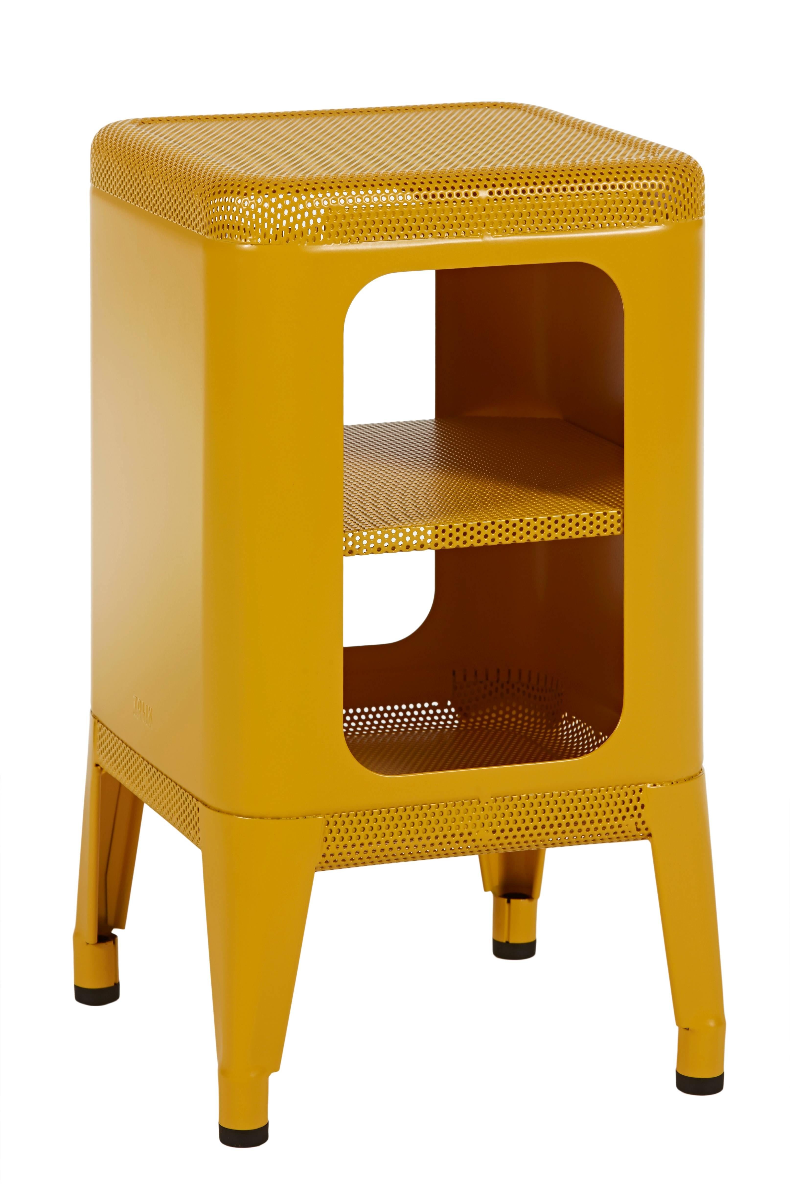 Conceived by designer Frédéric Gaunet the Stool Shelf is a storage unit and for  sc 1 st  1stDibs & Perforated Stool Shelf 500 in Mustard Yellow by Frederic Gaunet and ...