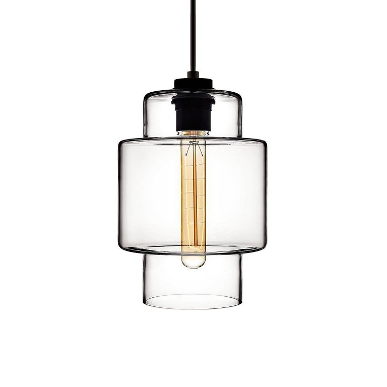 Axia Crystal Handblown Modern Glass Pendant Light, Made in the USA