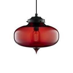 Minaret Crimson Handblown Modern Glass Pendant Light, Made in the USA