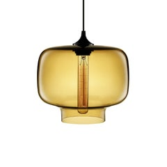 Oculo Amber Handblown Modern Glass Pendant Light, Made in the USA