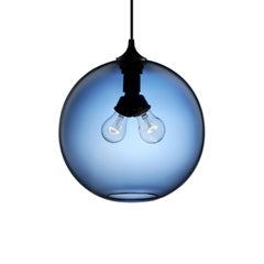 Binary Sapphire Handblown Modern Glass Pendant Light, Made in the USA