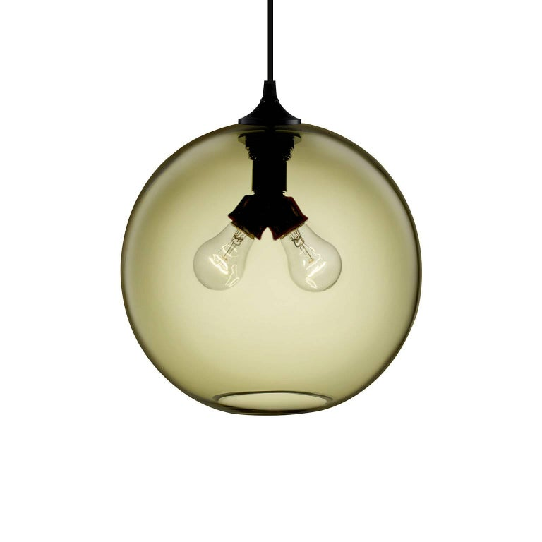 Binary Smoke Handblown Modern Glass Pendant Light, Made in the USA