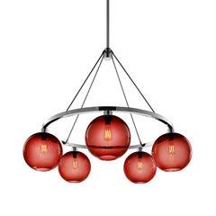 Solitaire Crimson Handblown Modern Glass Polished Nickel Chandelier Light