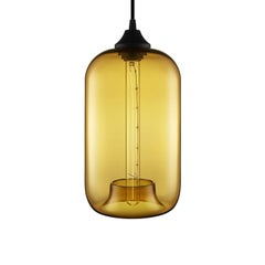 Pod Amber Handblown Modern Glass Pendant Light, Made in the USA
