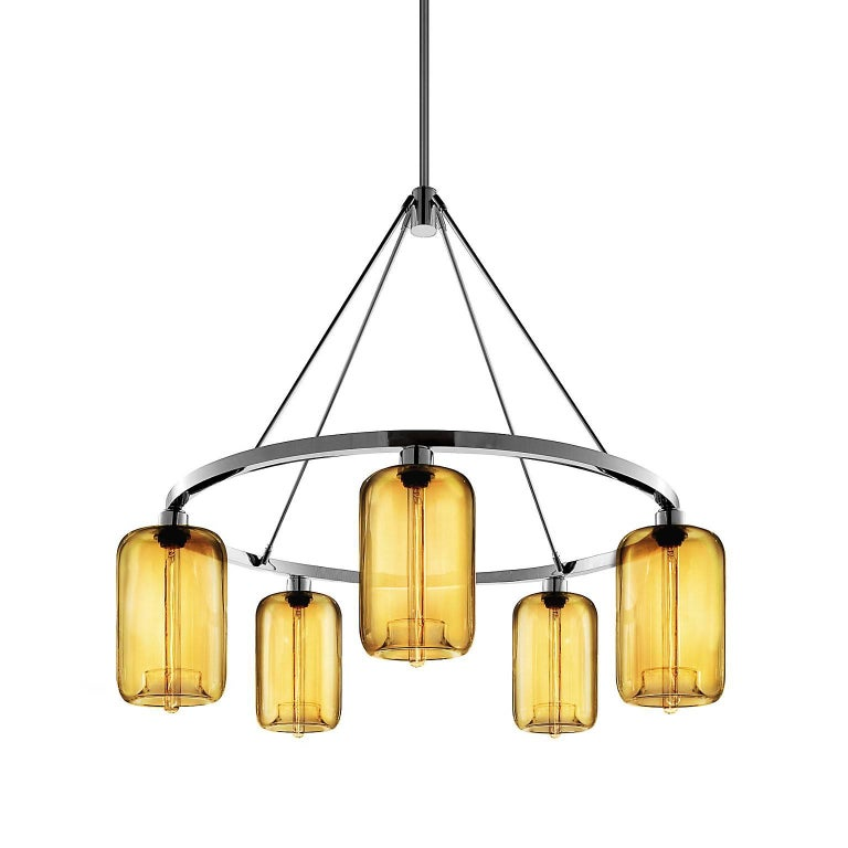 Pod Amber Handblown Modern Glass Polished Nickel Chandelier Light