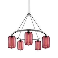 Pod Plum Handblown Modern Glass Polished Nickel Chandelier Light, Made in the US