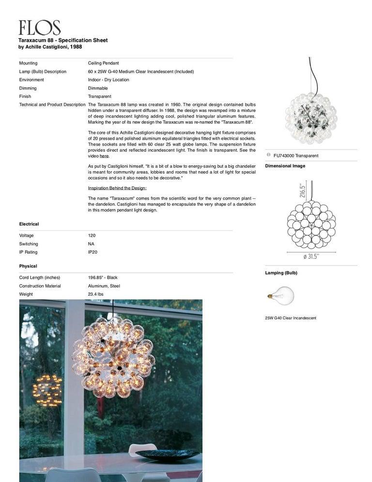 Italian FLOS Taraxacum 88 Pendant Light by Achille Castiglioni For Sale