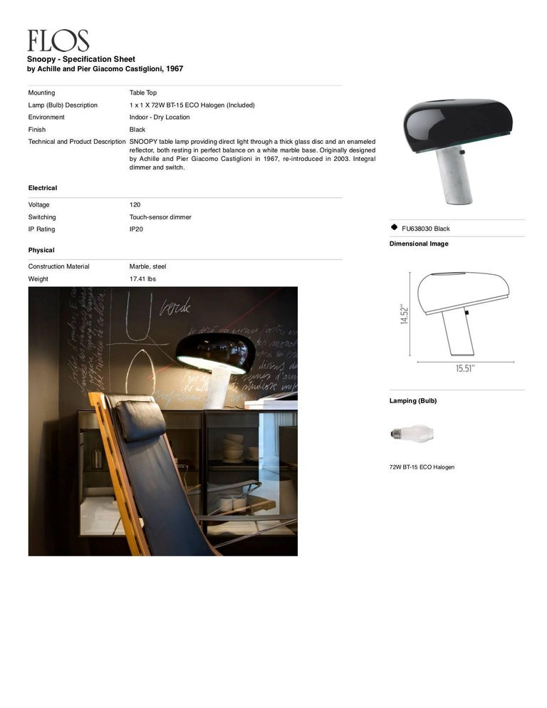 Contemporary FLOS Snoopy Table Lamp in Black by Achille & Pier Giacomo Castiglioni For Sale
