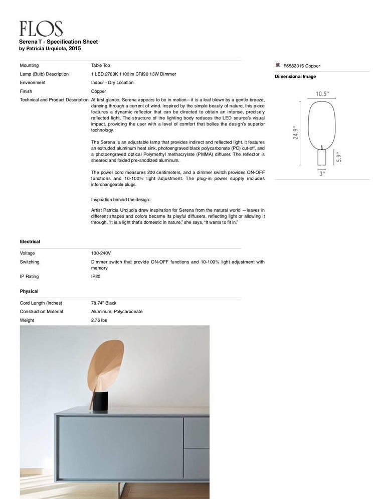 FLOS Serena LED Table Lamp in Copper by Patricia Urquiola In New Condition For Sale In New York, NY