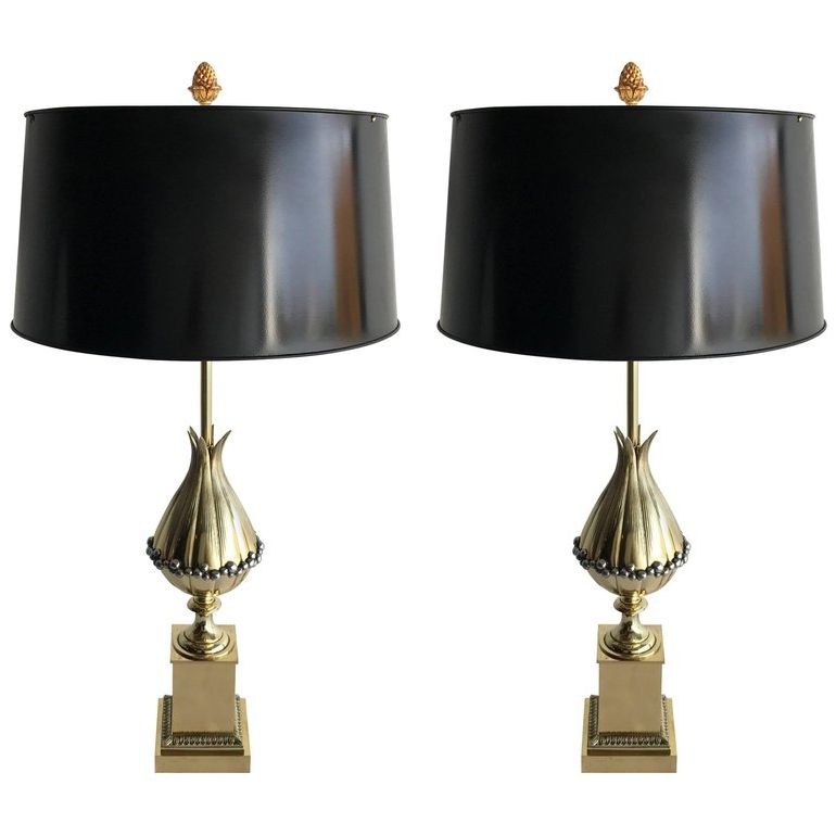 Pair of Maison Charles Lotus Bronze Table Lamp French Art Deco