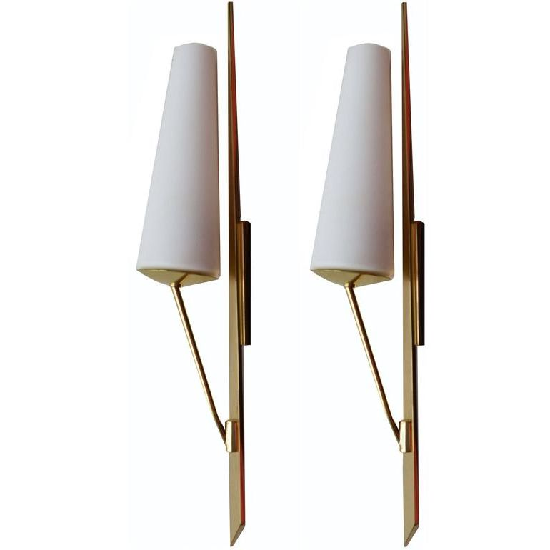 Maison Arlus Brass Sconces, 4 pairs available