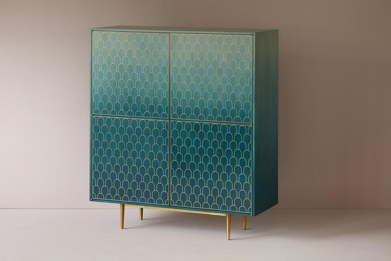 Omani Bethan Gray Nizwa Four-Door Tall Cabinet Teal / Brass For Sale
