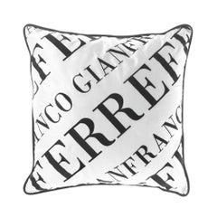 Gianfranco Ferré Logo Bold Pillow in Black and White Fabric