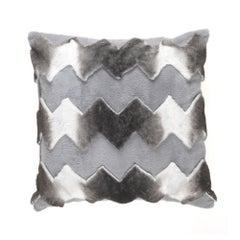 Gianfranco Ferré Kirah Chevron Pillow in Grey Orylag Fur