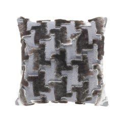 Gianfranco Ferré Kirah Pie De Poule Pillow in Grey Orylag Fur