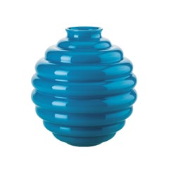 Venini Deco Glass Vase in Aquamarine by Napoleone Martinuzzi