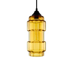 Muralla Amber Optique Handblown Modern Glass Pendant Light, Made in the USA