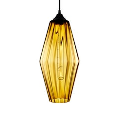 Marquise Grand Amber Optique Handblown Modern Glass Pendant Light, Made in USA