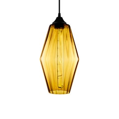 Marquise Amber Optique Handblown Modern Glass Pendant Light, Made in the USA