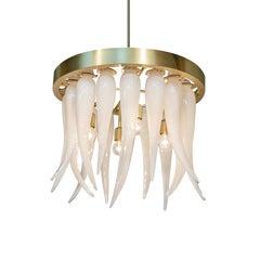 Tusk Opaline Handblown Modern Glass Satin Brass Chandelier Light, Made in USA