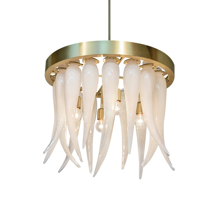 Tusk Opaline Handblown Modern Glass Satin Brass Chandelier Light, Made in USA For Sale