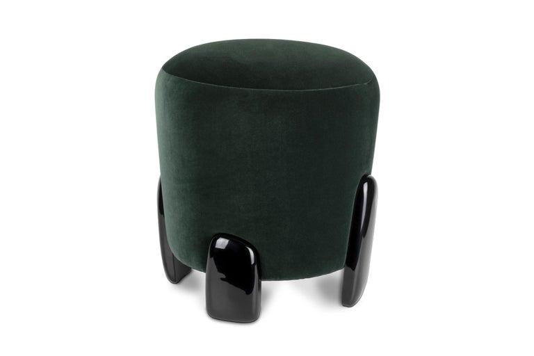 Art Deco Brabbu Noaki Stool in Emerald Velvet with Black Lacquer Base For Sale